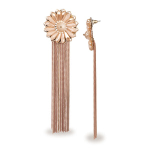 FLORAL METAL TASSEL PEACH LONG DESIGNER EARRINGS
