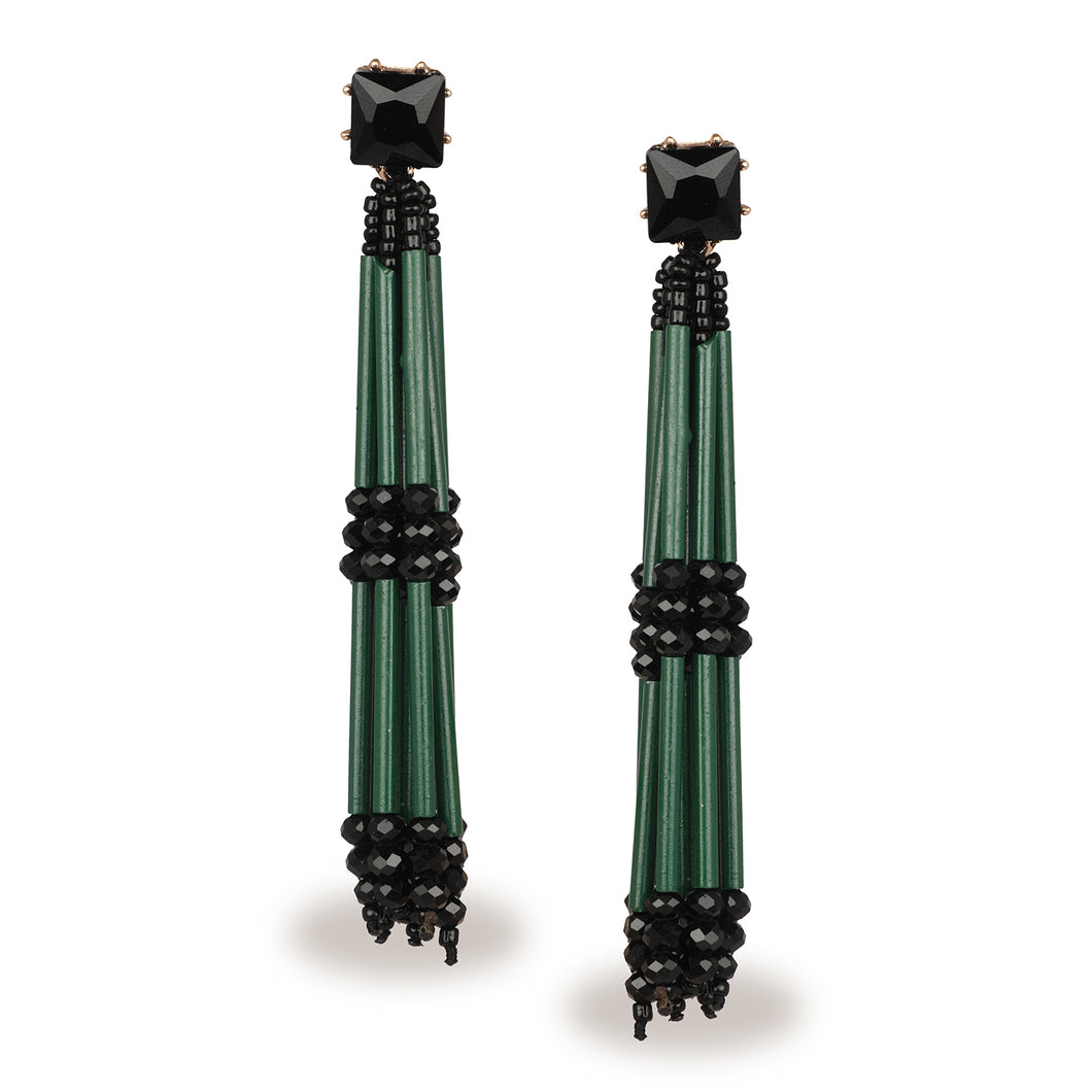 EXCLUSIVE GREEN TASSEL EARRINGS CELEBRITY STYLE