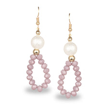 Load image into Gallery viewer, BEADED MAUVE LOOP OFFICE EARRINGS
