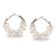 Load image into Gallery viewer, CLUSTER OF PEARL PARTY HOOP EARRINGS