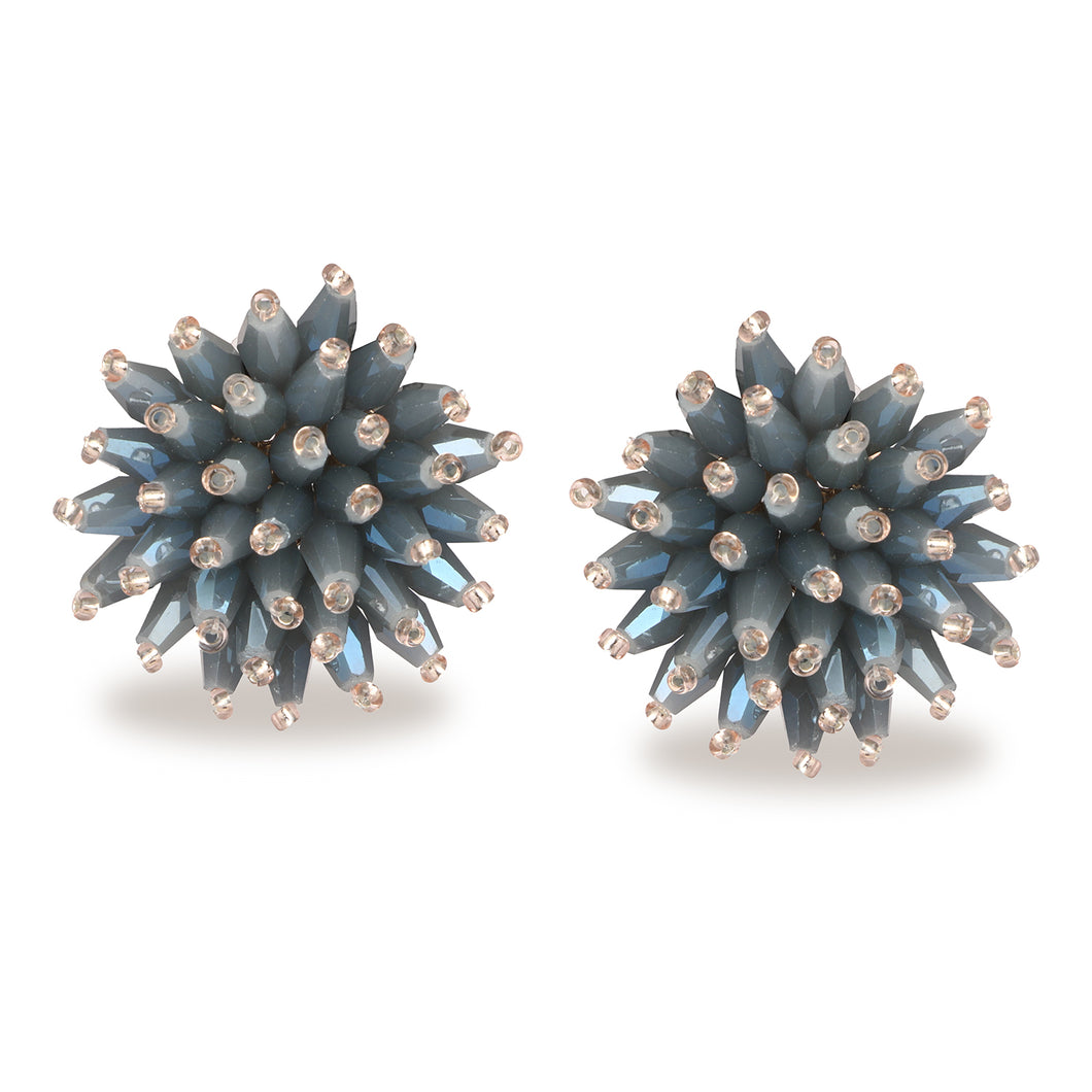 FLORAL SMOKY BLUE SPARKLING STUD EARRINGS SET OF 3 PAIR