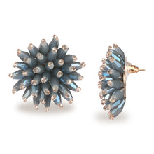 Load image into Gallery viewer, FLORAL SMOKY BLUE SPARKLING STUD EARRINGS SET OF 3 PAIR