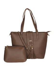 Single Tassel Structured Tote-Brown