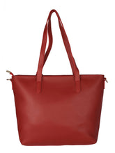 Load image into Gallery viewer, Structured Tote with Flower Charm-Red