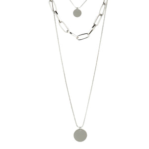 3 LAYER SILVER CHARM NECKLACE