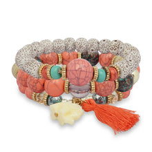 Load image into Gallery viewer, PINK AND MULTICOLORED 3 LAYERED BEADED BRACELET