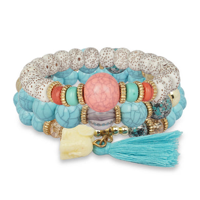 3 LAYERED TURQUOISE MULTICOLORED BRACELET WITH TASSEL AND CHARM
