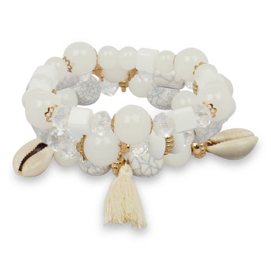 3 LAYERED WHITE BRACELET WITH TASSEL