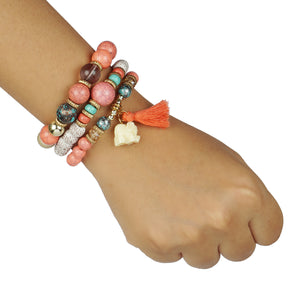 PINK AND MULTICOLORED 3 LAYERED BEADED BRACELET