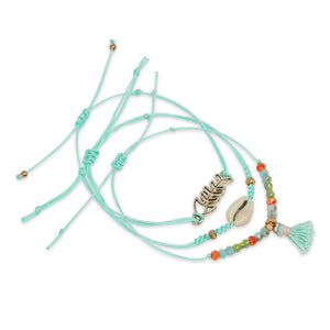 TURQUOISE 3 LAYERED BRACELET WITH FISH CHARM