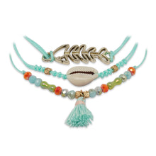 Load image into Gallery viewer, TURQUOISE 3 LAYERED BRACELET WITH FISH CHARM