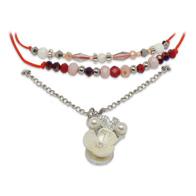 RED 3 LAYERED BRACELET WITH FLOWER CHARM