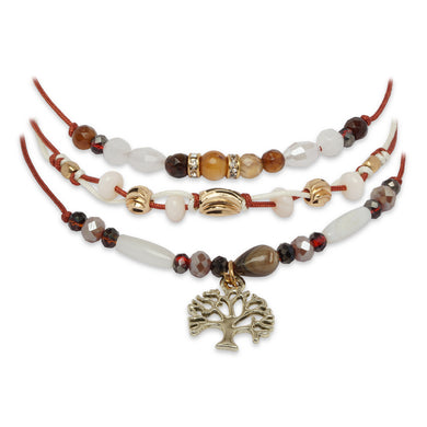 BROWN 3 LAYERED BRACELET WITH FLOWER CHARM