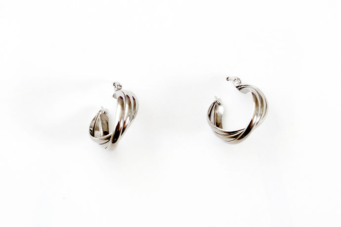 Small Twists Silver Hoops
