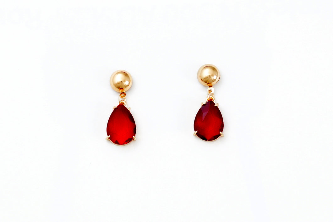 Bold Red Stone Drop Earrings