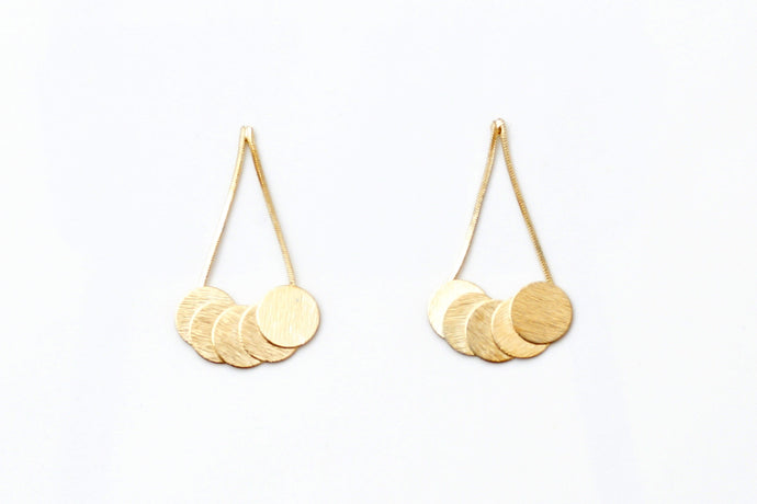 Gold Cherry Sign Earrings