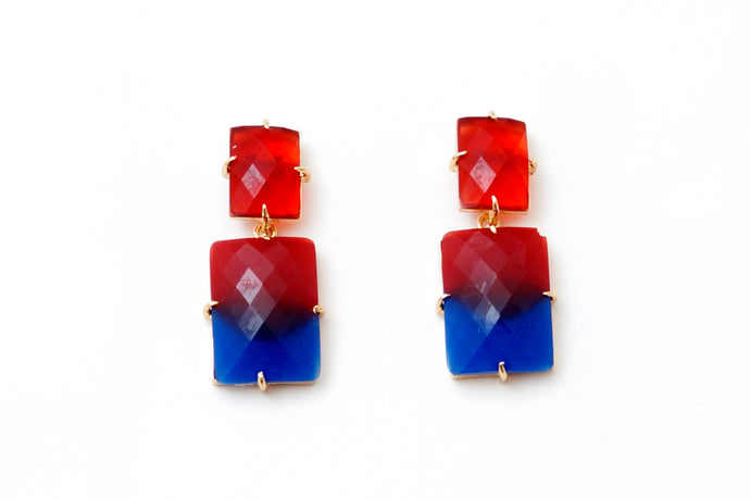 Double Shade Stone Earrings