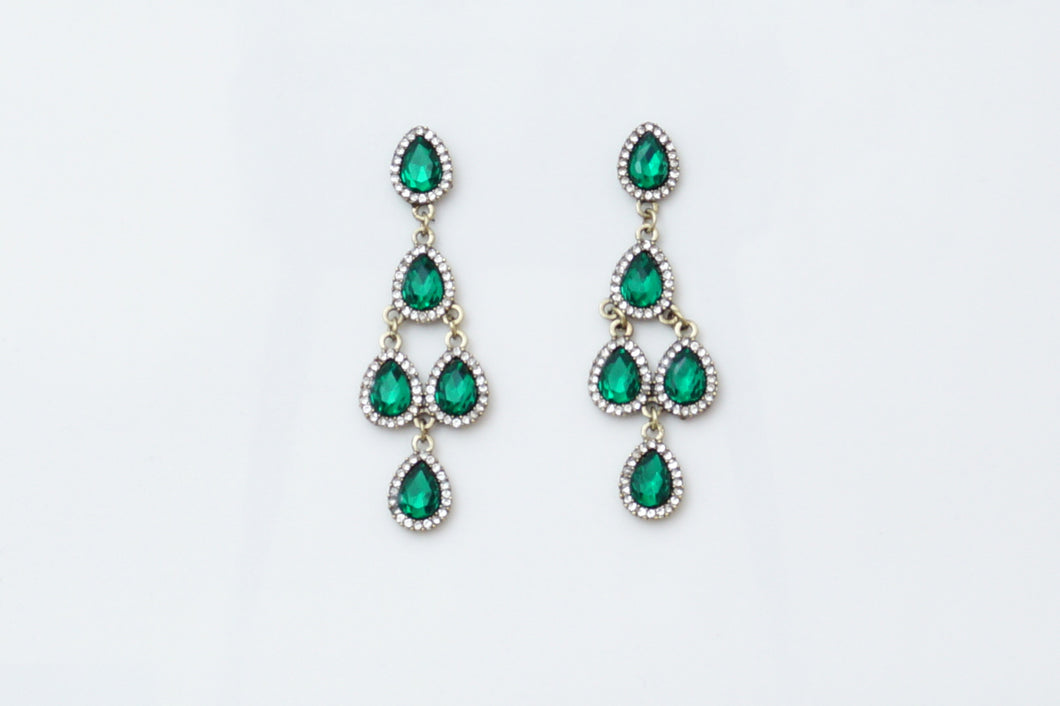 Green Chandelier Earrings