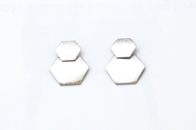 Silver Hexa Earrings