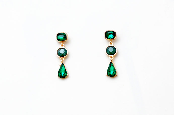 Emerald Gold Lean Chandelier Earrings