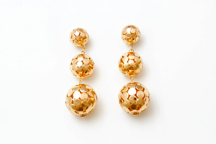 Gold Bubble Chandelier Earrings