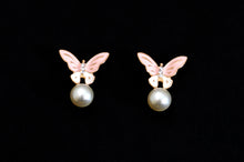 Load image into Gallery viewer, Butterfly on a Pearl Earrings