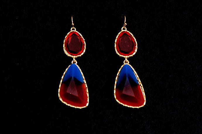 Red & Blue Infusion Dangler Earrings