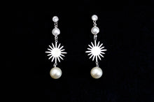 Load image into Gallery viewer, Silver Sunlight with Pearl Drop Earrings