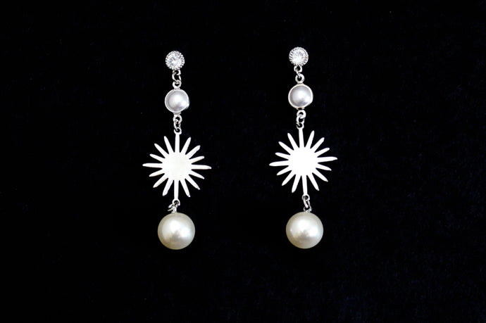 Silver Sunlight with Pearl Drop Earrings