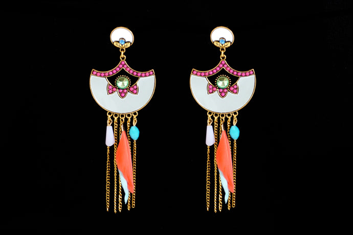 Turkish Mirror wth Feather Statement Earrings