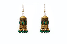 Load image into Gallery viewer, Green stone Tubular Jhumkas