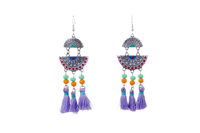 Coloured Tassel Long Earrings