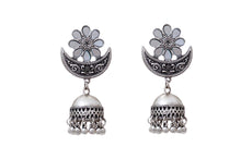 Load image into Gallery viewer, Mirror Turkish Silver Ethnic Jhumkas