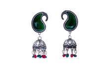 Load image into Gallery viewer, Peacock Green Jhumkas