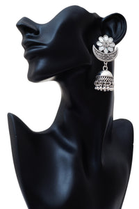 Mirror Turkish Silver Ethnic Jhumkas