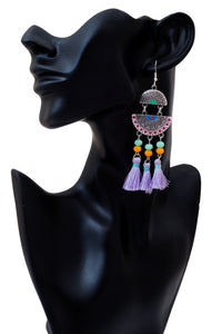 Coloured Tassel Long Earring