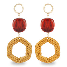 Load image into Gallery viewer, WOODEN LONG EARRING WITH BROWN CRYSTAL BEAD