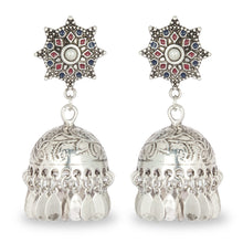 Load image into Gallery viewer, SILVER JHUMKA WITH MULTI COLOR TOP