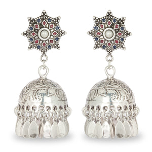 SILVER JHUMKA WITH MULTI COLOR TOP