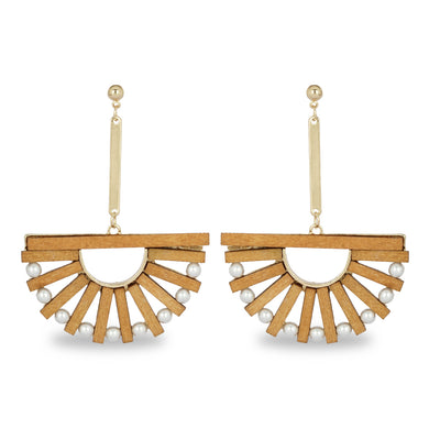 WOODEN STATEMENT  LONG EARRING