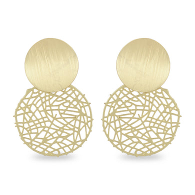 ABSTRACT CUTWORK ROUND GOLDEN EARRING