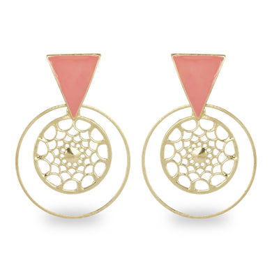 PINK ENAMELED TRIANGLE STUD WITH ROUND CUTWORK EARRING
