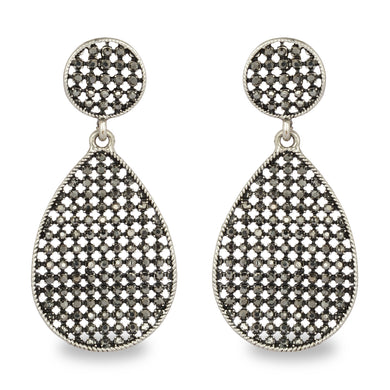 SMOKE BLACK STONES WITH ANTIQUE FINISH EARRING