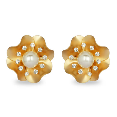 GOLDEN FLOWER WITH PEARL STUD EARRING
