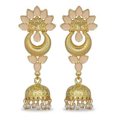 PINK ENAMEL WITH GOLDEN JHUMKA LONG EARRING