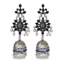 Load image into Gallery viewer, BLUE AND SILVER FESTIVE JHUMKA EARRING