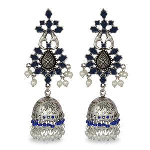 BLUE AND SILVER FESTIVE JHUMKA EARRING