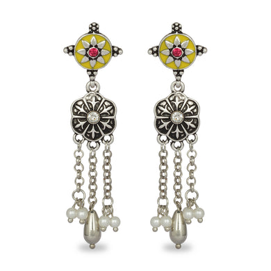 INDO WESTERN CLASSY SILVER WITH YELLOW ENAMEL EARRING