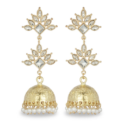 GOLDEN LONG FESTIVE JHUMKA EARRING WITH KUNDAN STONES