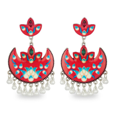 RED HAND PAINTED AFGHANI EARRING
